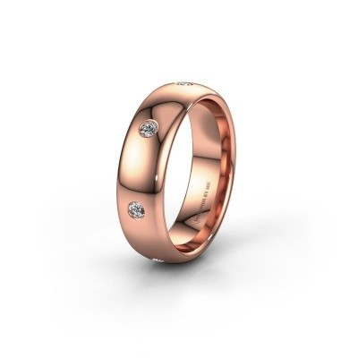 Wedding ring WH0105L36BP 375 rose gold zirconia ±0.24x0.08 in