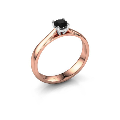 Foto van Verlovingsring Sam 585 rosé goud zwarte diamant 0.36 crt