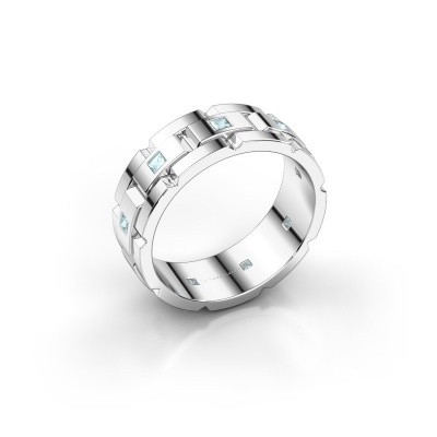 Foto van Rolex stijl ring Ricardo 585 witgoud aquamarijn 2 mm