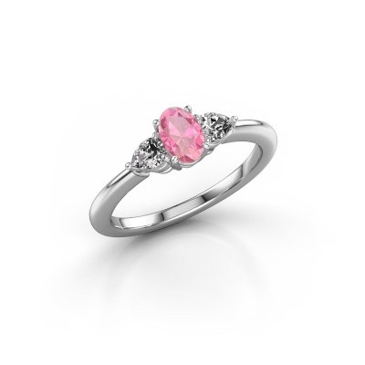 Foto van Verlovingsring Chanou OVL 585 witgoud roze saffier 6x4 mm
