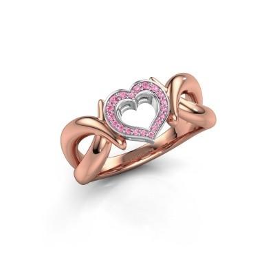 Ring Earlie 1 585 rosé goud roze saffier 1.1 mm