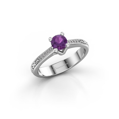 Picture of Engagement ring Mei 925 silver amethyst 4.7 mm
