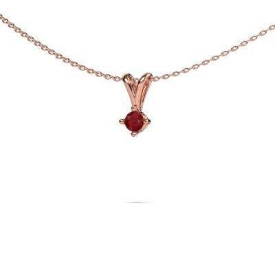 Foto van Ketting Jannette 375 rosé goud robijn 3.7 mm