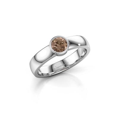 Foto van Ring Ise 1 950 platina bruine diamant 0.40 crt