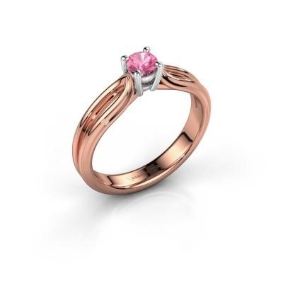 Verlovingsring Antonia 1 585 rosé goud roze saffier 4 mm