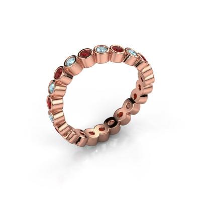 Ring Liz 585 rosé goud robijn 2 mm