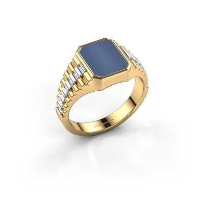 Photo de Bague style Rolex Brent 1 585 or jaune nicolo bleue 10x8 mm
