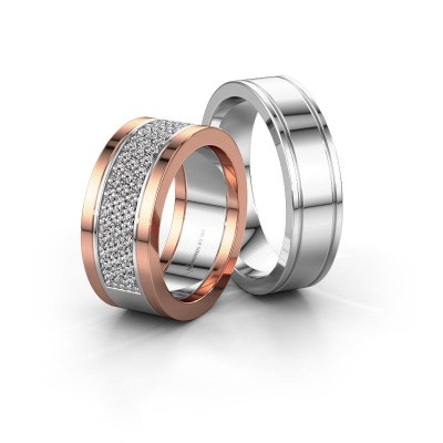 Foto van Trouwringen set WHR0098LM16BP ±8x2 mm 14 karaat witgoud diamant 0.02 crt