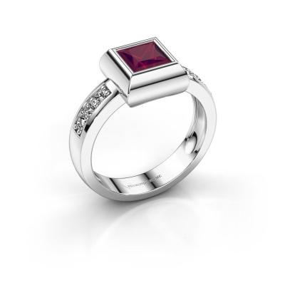 Ring Charlotte Square 925 silver rhodolite 5 mm
