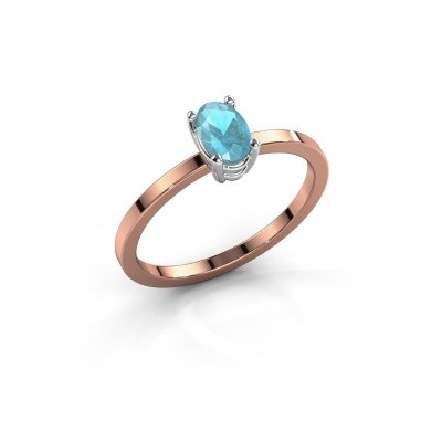 Ring Lynelle 1 585 rosé goud blauw topaas 6x4 mm