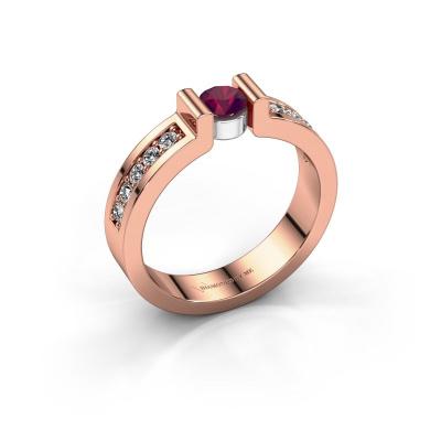 Verlovingsring Isabel 2 585 rosé goud rhodoliet 4 mm