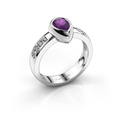 Ring Charlotte Pear 585 white gold amethyst 8x5 mm