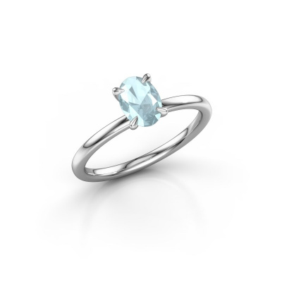Picture of Engagement ring Crystal OVL 1 925 silver aquamarine 7x5 mm