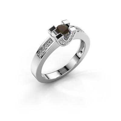 Verlovingsring Jasmijn 2 925 zilver rookkwarts 4 mm