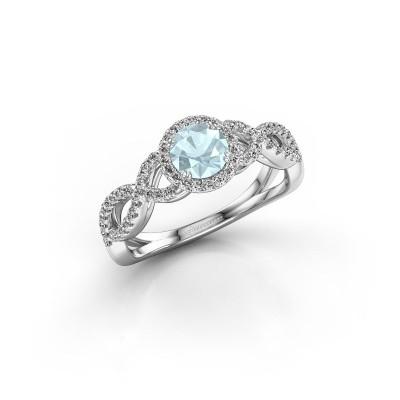 Engagement ring Dionne rnd 950 platinum aquamarine 5 mm