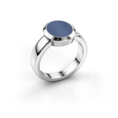 Zegelring Oscar 2 950 platina blauw lagensteen 11x9 mm