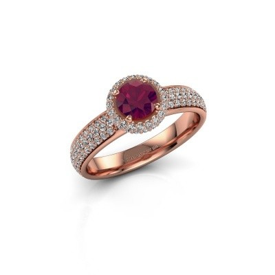 Engagement ring Mildred 375 rose gold rhodolite 5 mm
