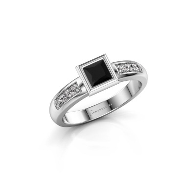 Stacking ring Lieke Square 925 silver black diamond 0.60 crt