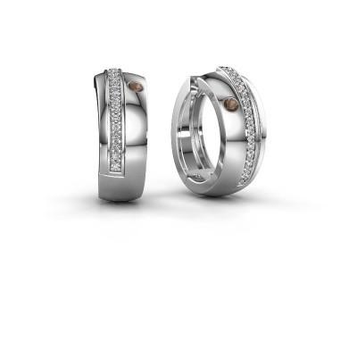 Picture of Hoop earrings Shakita 925 silver smokey quartz 2 mm