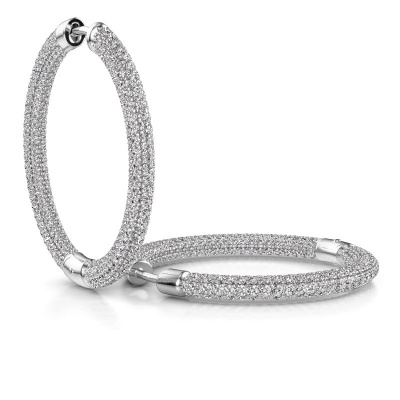 Foto van Creolen Hope 25mm 950 platina lab-grown diamant 4.407 crt