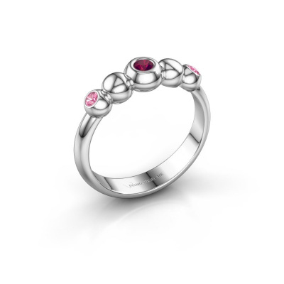 Stackable ring Lily 925 silver rhodolite 2.5 mm