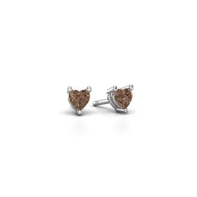 Foto van Oorstekers Garnet 585 witgoud bruine diamant 0.50 crt