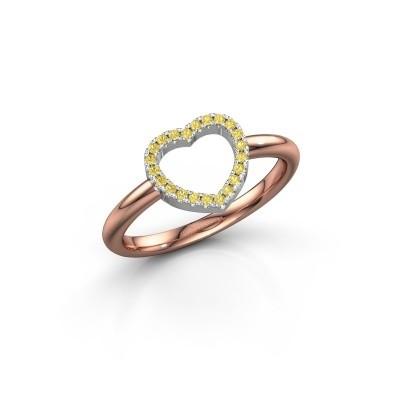 Foto van Ring Heart 7 585 rosé goud gele saffier 1 mm