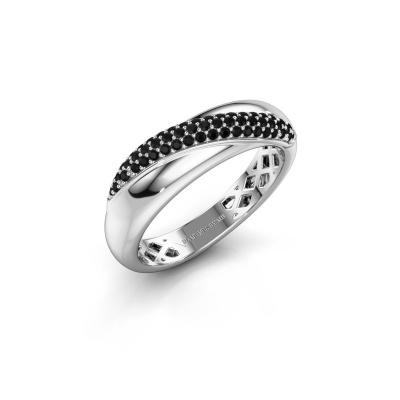 Foto van Ring Rosie 925 zilver zwarte diamant 0.309 crt