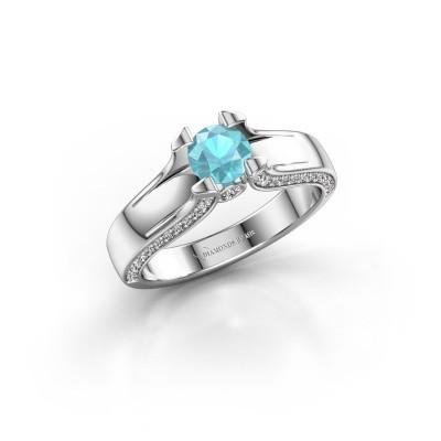 Verlovingsring Jeanne 1 585 witgoud blauw topaas 5 mm