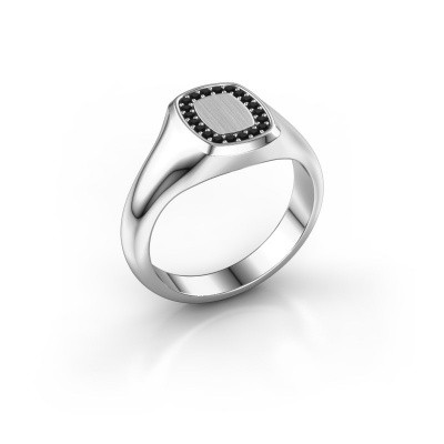 Men's ring Floris Cushion 1 950 platinum black diamond 0.18 crt