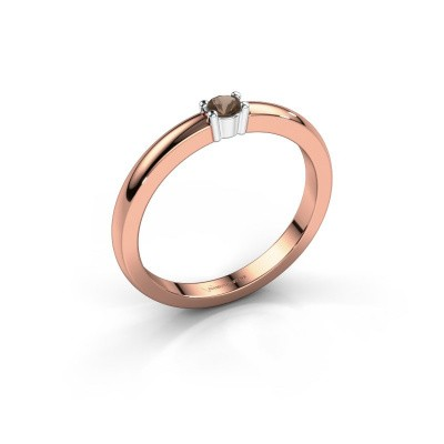 Foto van Promise ring Yasmin 1 585 rosé goud rookkwarts 2.7 mm