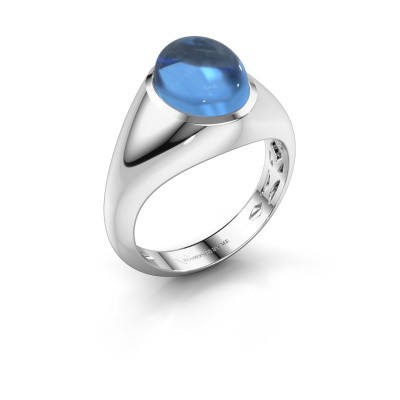Foto van Ring Zaza 585 witgoud blauw topaas 10x8 mm