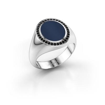 Foto van Zegelring Adam 2 925 zilver donker blauw lagensteen 12x10 mm