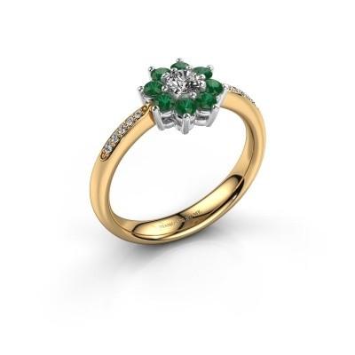 Verlovingsring Camille 2 585 goud smaragd 3.4 mm