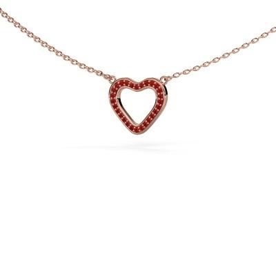 Pendentif Heart 3 375 or rose rubis 0.8 mm