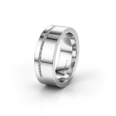 Trouwring WH0143L17BP 375 witgoud lab-grown diamant ±7x2 mm