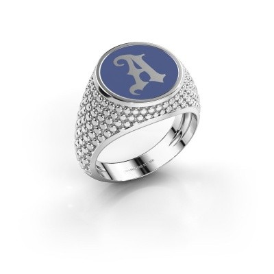 Monogramm Ring Zachary 925 Silber Blau Emaille