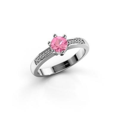 Foto van Verlovingsring Luna 2 585 witgoud roze saffier 5 mm