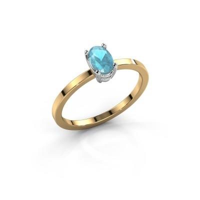 Foto van Ring Lynelle 1 585 goud blauw topaas 6x4 mm