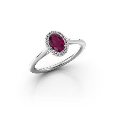Engagement ring Seline 1 925 silver rhodolite 6x4 mm