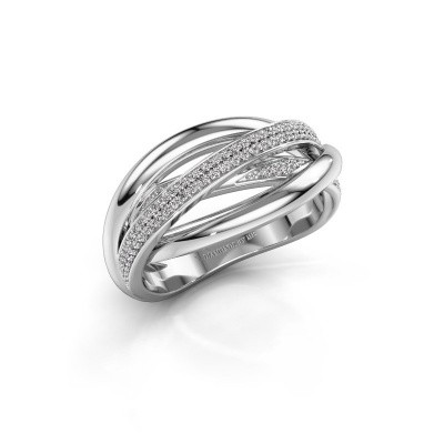 Ring Candice 585 witgoud zirkonia 0.8 mm