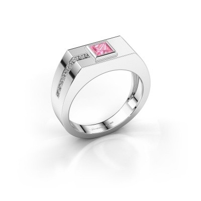 Foto van Heren ring Robertus 1 375 witgoud roze saffier 4 mm