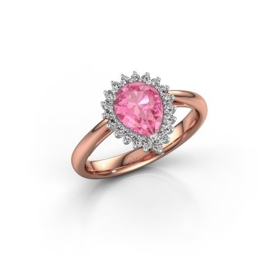 Engagement ring Tilly per 1 585 rose gold pink sapphire 8x6 mm