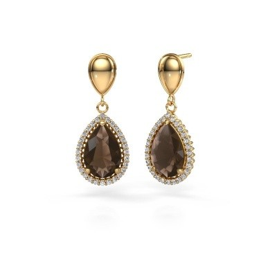 Picture of Drop earrings Cheree 1 585 gold smokey quartz 12x8 mm