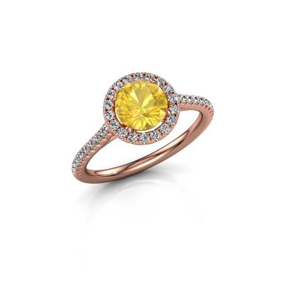 Foto van Verlovingsring Seline rnd 2 375 rosé goud gele saffier 6.5 mm