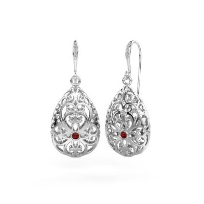 Picture of Drop earrings Idalia 2 375 white gold garnet 2 mm