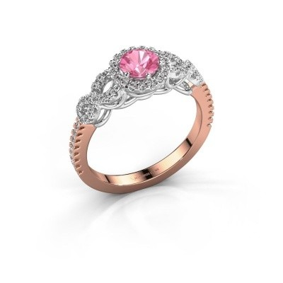 Engagement ring Sasja 585 rose gold pink sapphire 5 mm