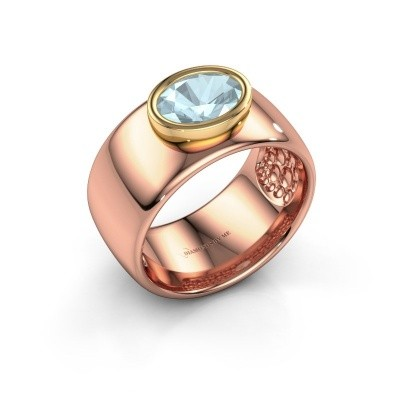 Ring Anouschka 585 rosé goud aquamarijn 8x6 mm