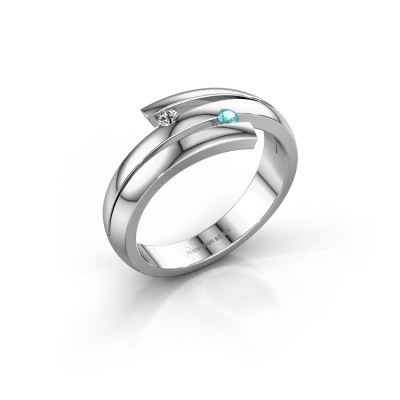Ring Dena 585 witgoud blauw topaas 2 mm