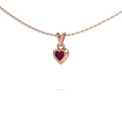 Foto van Hanger Charlotte Heart 375 rosé goud rhodoliet 4 mm
